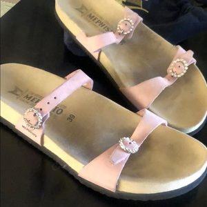 Mephisto Sandals, light pink with rhinestone